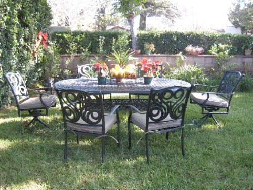 CBM Outdoor Patio Furniture 7 Pcs Aluminum Dining Set With 2 Swivel Chairs  CBM1290 By Dining