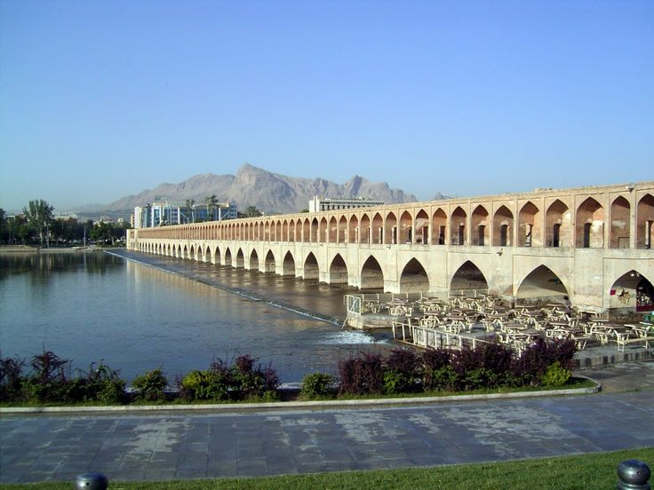 Si-o-seh pol, Isfahan, Iran; Allāhverdi Khan Bridge, popularly known as Si-o-seh pol is one of the eleven bridges of Isfahan, Iran and the longest bridge on Zayandeh River with the total length of 297.76 metres.