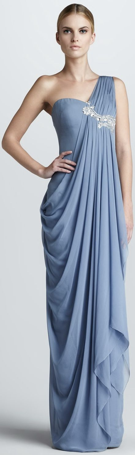Notte by Marchesa Blue Embroidered Draped Gown