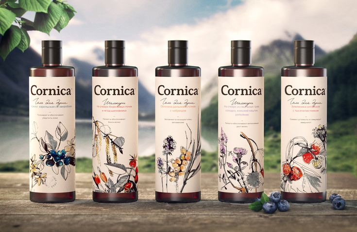Cornica is a line of shampoos, shower gels, and liquid soaps that are sure to make you feel like you're spending a day at the spa. Designed by Funky Business® Branding Agency, these bath and beauty products embrace using natural or medicinal herbs as the prime ingredients.