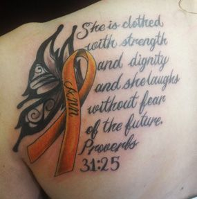 Multiple Sclerosis tattoo ideas.  I particularly like this one, but it's too big.  I don't want one on my back.  Hmmm