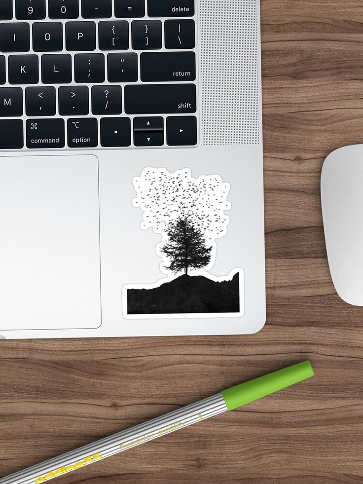 Alternate view of ascension - single tree with a large flock of birds Sticker Silhouette of a single tree on a mountain range with a large flock of birds rising above – photo manipulation