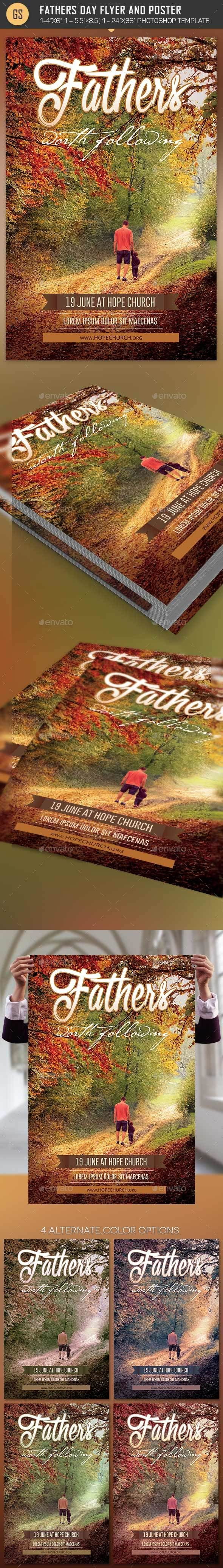 Fathers Day Flyer Poster Template is for church sermon or events for Fathers Day. Great for Sermons, Bible Study, Conventions, Conferences and more. The layered Photoshop files are color coded and organized in folders. 4 One-Click Color Options are included.