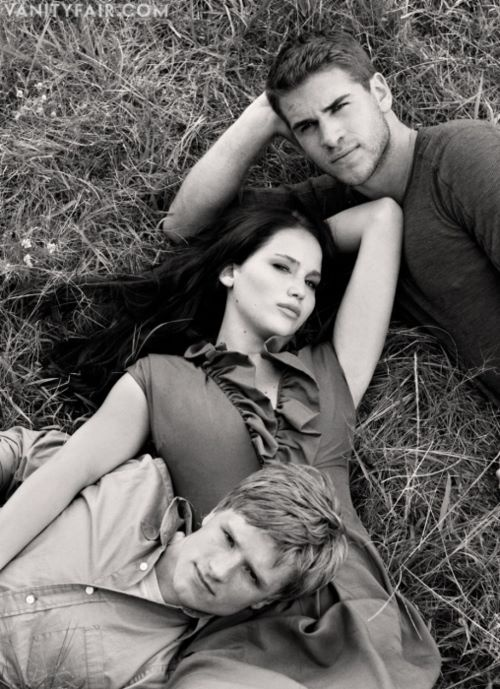 The Hunger Games Josh Hutcherson, Jennifer Lawrence, Liam Hemsworth! Weird love triangle in the movie...but just friends for all in life.
