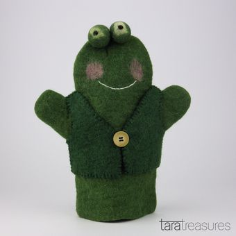 Frog Hand Puppet. Handmade from 100% wool felt, this frog hand puppet is ideal for an interactive playtime with the kids.