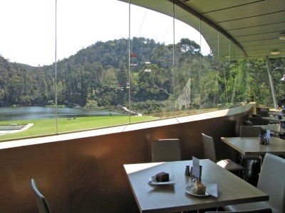Looking out towards the chairlift and the First Basin at Cataract Gorge, from the Basin Cafe.