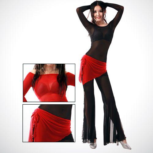 Эта модель тренировочного костюма для танца живота изящно подчеркнет вашу фигуру. Практически весь костюм выполнен из полупрозрачной эластичной ткани. Декоративным элементом служит пояс-юбка конрастного цвета.