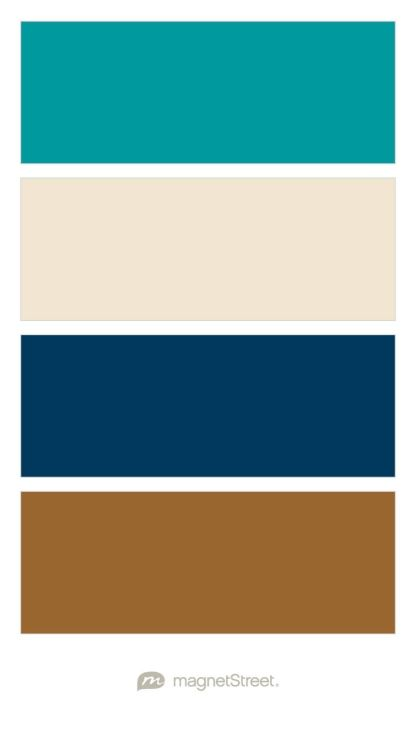 Teal, Champagne, Navy, and Bronze Wedding Color Palette - custom color palette created at MagnetStreet.com