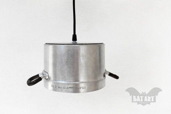 BAT™ ART Pendant Light - Aluminium Vintage Atlas kitchen pot - Lighting Fixture strainer - Chandelier - Color textile wire - E14 lampholder by Think4HandmadeArt, 48€