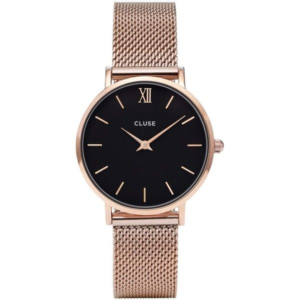 Cluse Minuit Black Dial Ladies Rose Gold Mehs Watch (£90) ❤ liked on Polyvore featuring jewelry, watches, rose gold jewellery, quartz movement watches, analog wrist watch, pink gold jewelry and roman numeral jewelry
