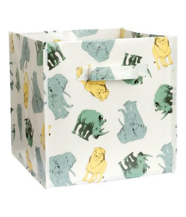 Folding storage box with a printed animal motif. Handles at sides. Size 11 x 11 x 11 in.