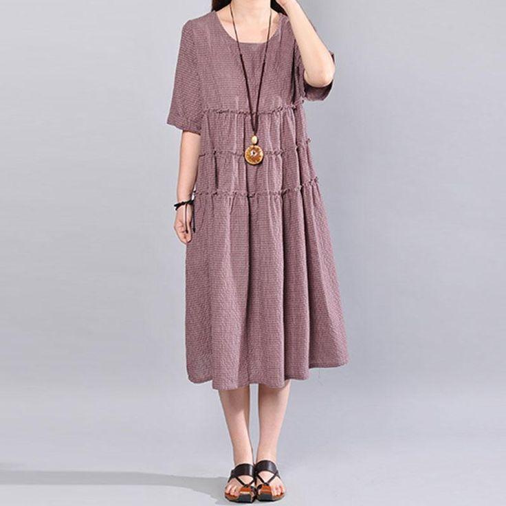 Women Casual Loose Literature Short Sleeve Dress