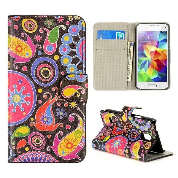 Kleurige figuren bookcase voor Samsung Galaxy S5 mini