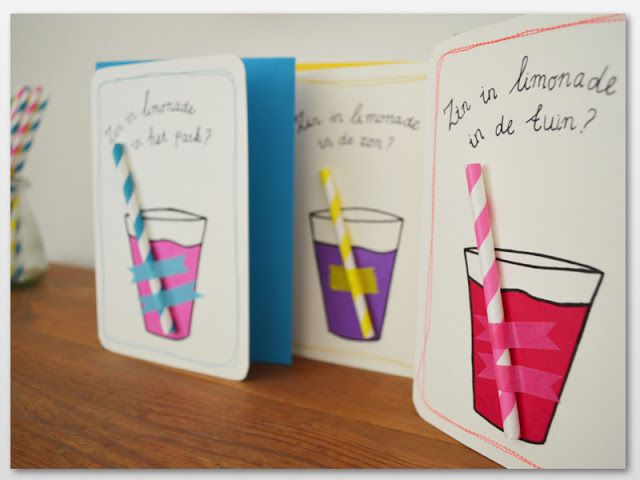 DIY lemonade cards with Hema paper straws by Vier Vandaag!