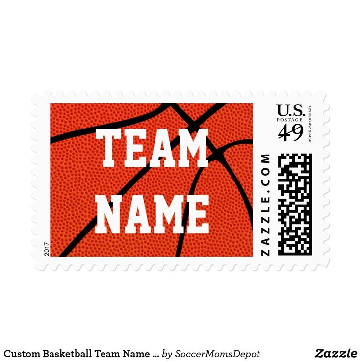 Custom Basketball Team Name or Other Text Stamps - Great for recruiting letters, or invitations to basketball camps, tournaments, parties or banquets! #basketball #stamp #postage #recruiting #camp #coach #basketballcoach #team