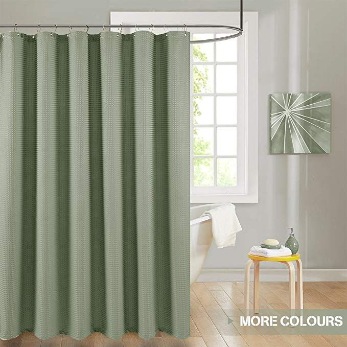 Lazzzy Waffle Weave Textured Shower Curtains 1 Panel 72 Olive