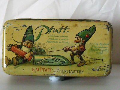 """Wonderful vintage """"Praff"""" sewing tin."""