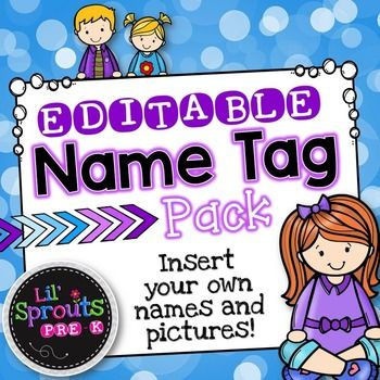 Need name tags for back to school?  These printable name tags are super cute and EDITABLE!  You can insert your students names and/or pictures.  Perfect for back to school and to use throughout the whole year.  These could be used in Preschool, Pre-K, Kindergarten, First Grade and more!