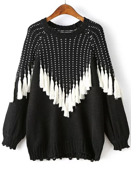 Black Fringe Detail Raglan Sleeve Sweater -SheIn(abaday)