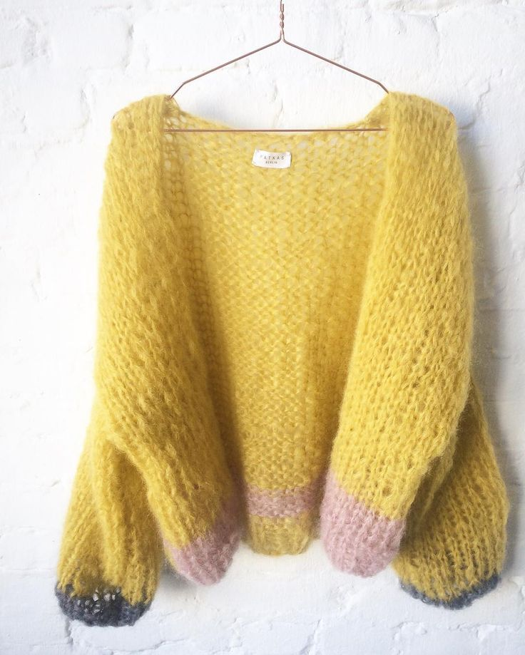 Yellow chunky mohair cardigan by Patkas
