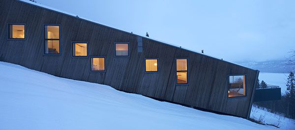 Architectural, Snow Covered Green Grass Next To The Right Side Of The Steep Slove House: Cool Three Identical Homes Taking Advantage of a St...