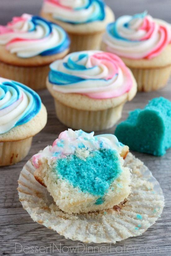Anunciar el sexo del bebé con pasteles cupcakes magdalenas repostería azul y rosa