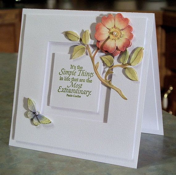 Beautiful All Occasion Inspirational card using the Little Things stamp set by Our Daily Bread. The 3-D die cuts are by K&Co.