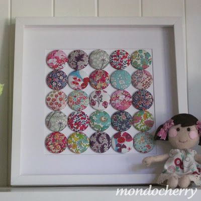 A small bite of mondocherry fabric button art