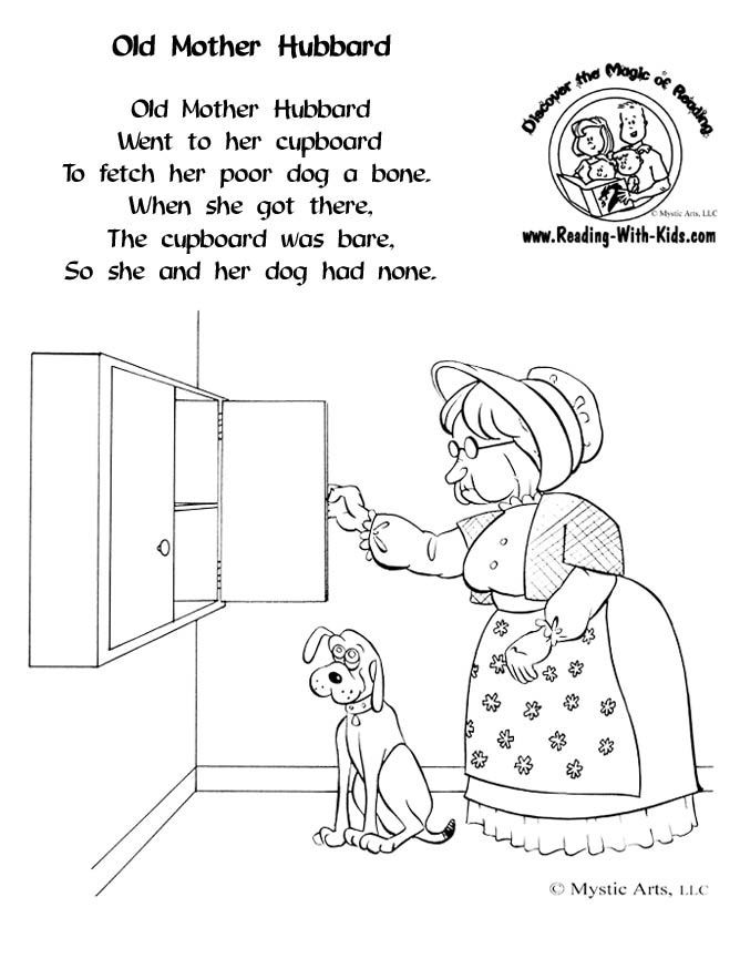 Old Mother Hubbard Coloring Sheet #NurseryRhymes