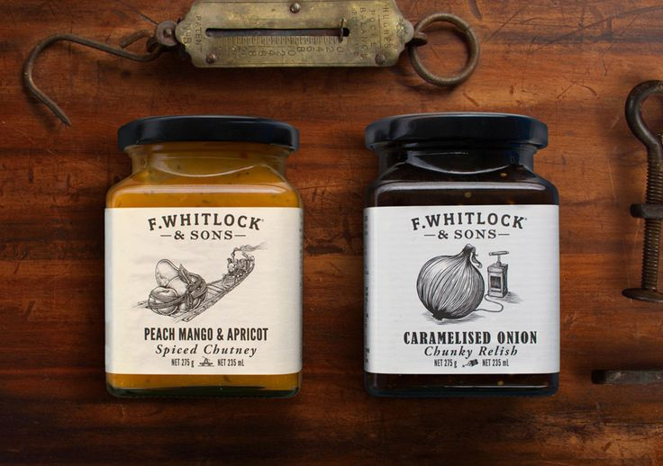 Packaging with etched illustrative detail for sauce and pickle brand F. Whitlock & Sons designed by Marx