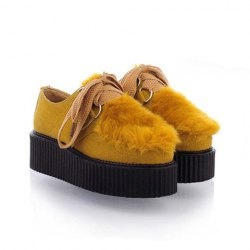 $20.28 Casual Women's Platform Shoes With Suede Lae Up Imitated Floss Design