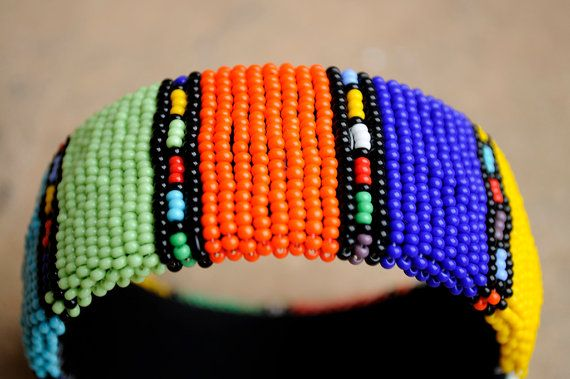 Statement Cuff BangleBeaded African Cuff by akwaabaAfrica on Etsy