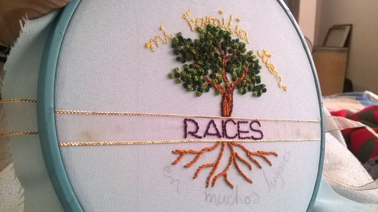 A quiet book I am doing for a new babygirl. Tree embroidery bordado