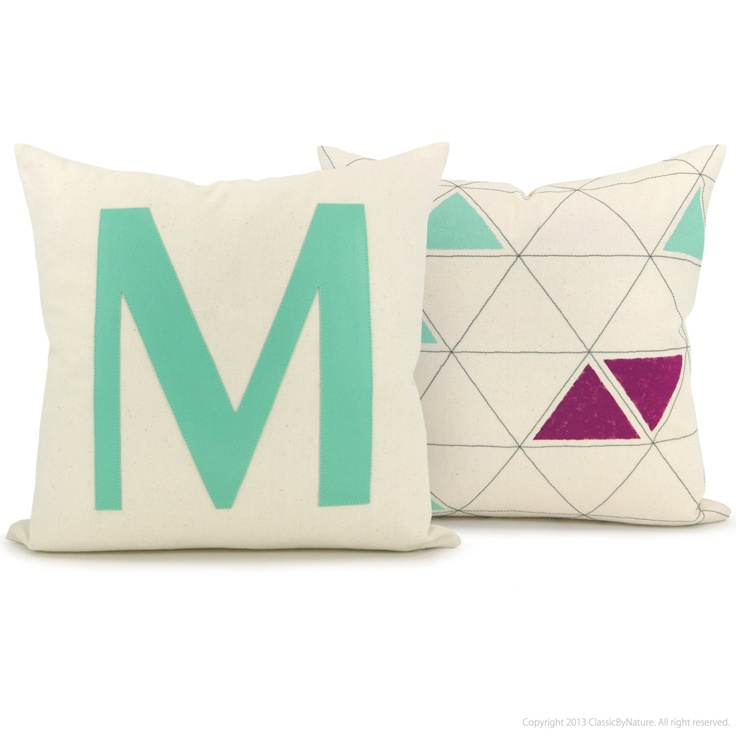 Monogram pillow case 16x16 decorative cushion cover for Letter m cushion