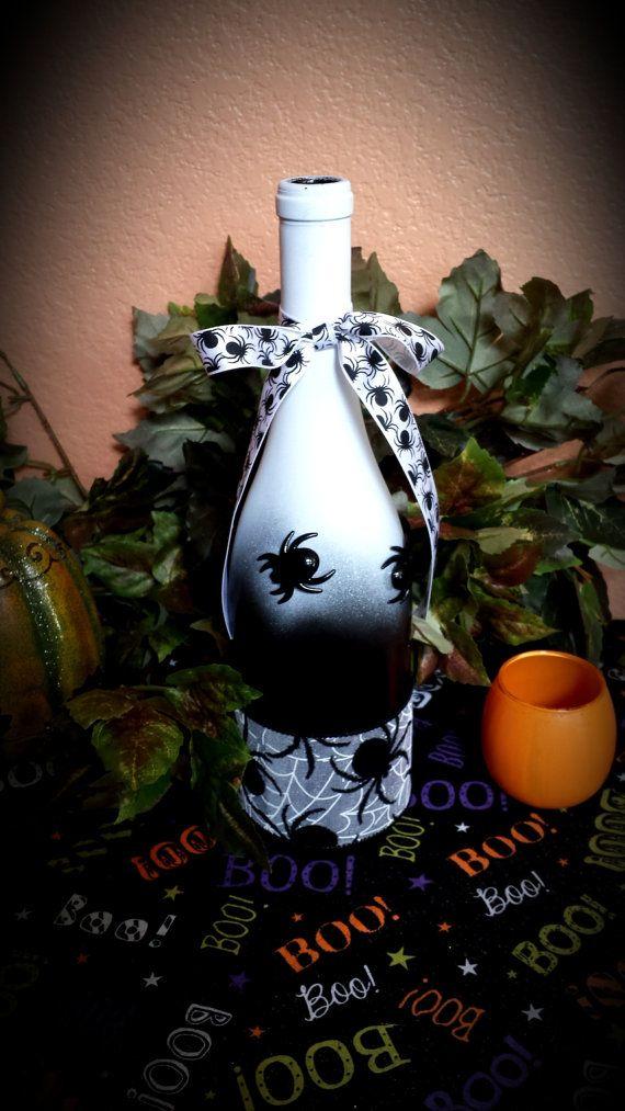Halloween Wine Bottle Decor by TheGlassCove on Etsy, $14.00
