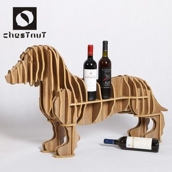 Wholesale Modern Animal Dachshund Table Wine Carving Wood Home Art Sculpture Interior Decoration
