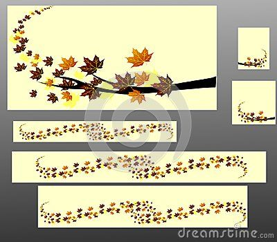 Abstract vector banners with autumn leaves.This banners are in the most popular sizes: 468x60px, 120x90px, 125x125px, 728x90px, 600x300px, 600x120px