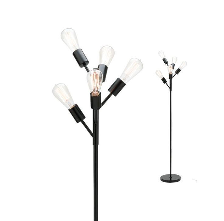 Pedro 5 Light Floor Lamp Matt Black Mercator A41825, $159.00