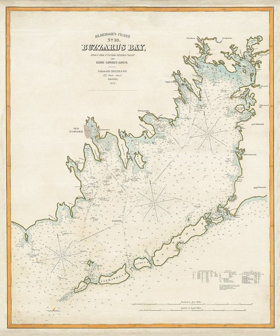 1876 Nautical Chart of Buzzard's Bay by AtomicPhoto on Etsy