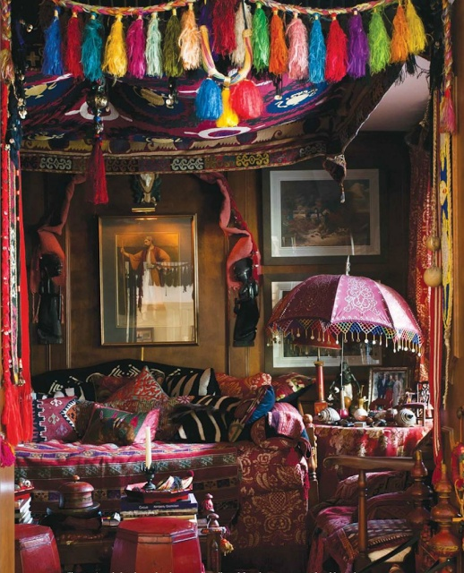Bohemian interior, because I really need an over the top, artsy room.