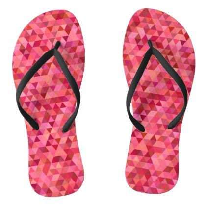 #Pink Triangles Flip Flops - #womens #shoes #womensshoes #custom #cool