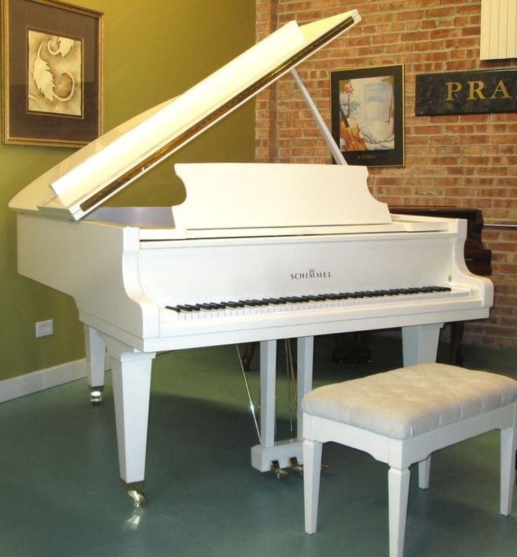 """White Schimmel 1992 Schimmel 5'6"""" grand piano. Schimmel  is widely know as one of the best pianos in the world and is performed on by professional pianist and entertainers. German Hand made piano with World famous """"German"""" RENNER Action."""