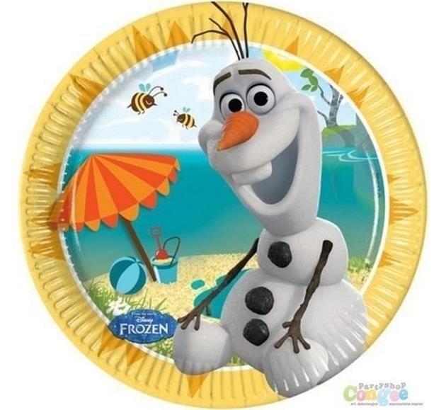 Zestaw talerzyków papierowych z nadrukiem postaci Olafa z kultowej bajki Frozen - Kraina Lodu.
