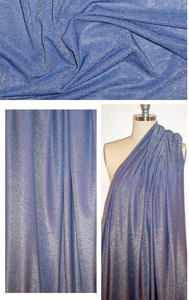 I think that this may be my next sobretto tank! A beautiful 11 oz. jersey mixing royal blue and silver metallic (PANTONE 19-3950 mixed with silver). This jersey is smooth, drapey, cool, comfortable, has great recovery, and the 11 oz. weight is fabulous for trendy tops and tees, slinky dresses, etc. 4-way stretch with great recovery