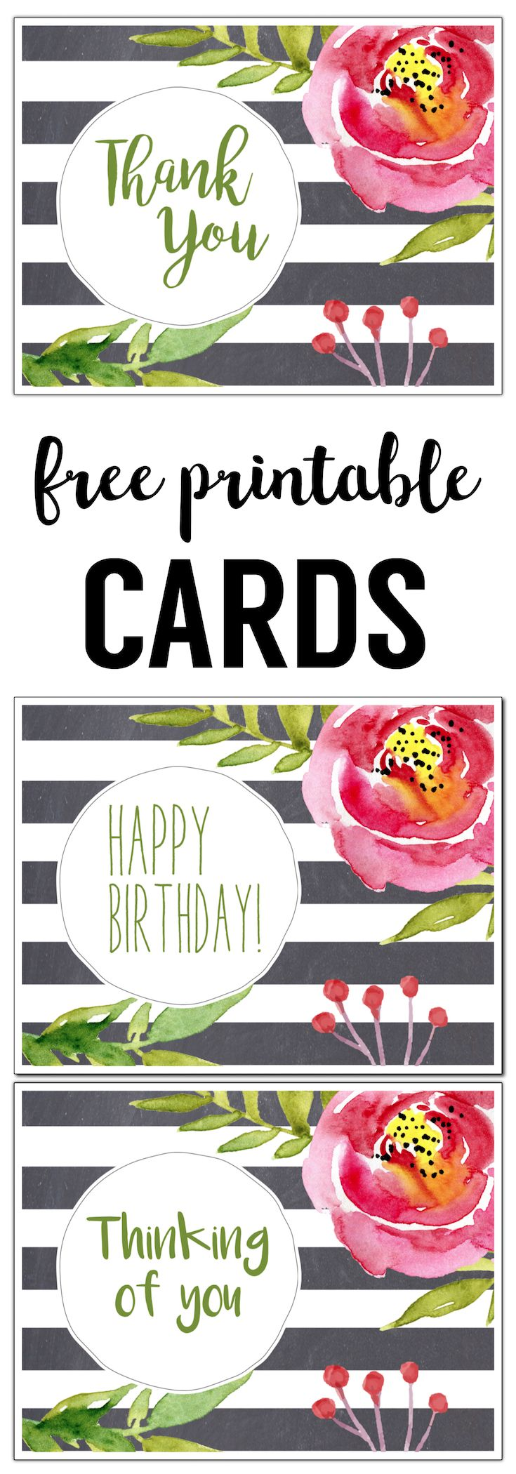 Free Printable Greeting Cards. Easy DIY watercolor floral cards. Free printable thank you card. Free printable birthday card. Thinking of you card.
