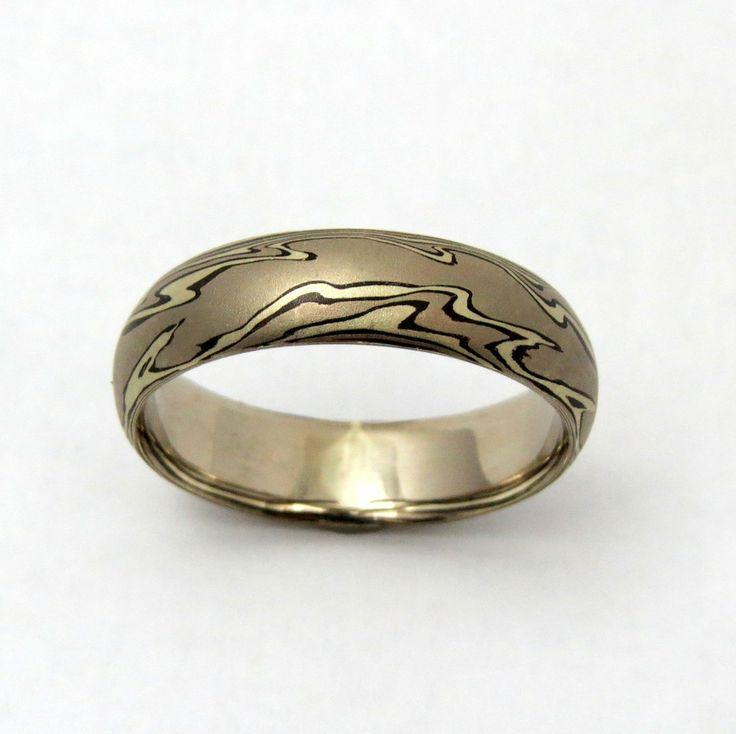 White Gold Mokume Gane Ring