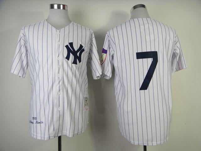 Men's MLB New York Yankees #7 Mickey Mantle White Jersey