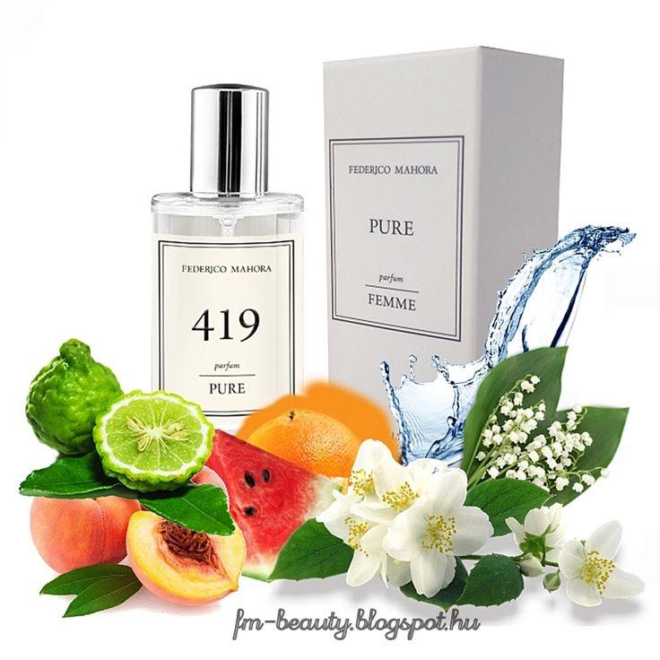 FM419 PURE női parfüm - Davidoff - Cool Water-szerű illat.  Optimista, laza illat gyümölcsös jegyekkel.  Illatcsalád: keleties- gyümölcsös. Fejjegyek: citrusok, grapefruit, bergamott, akvatikus, tengervíz, dinnye, őszibarack. Szívjegyek: fás jegyek, jázmin, gyöngyvirág. Alapjegyek: pézsma, ámbra.