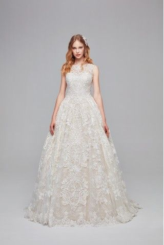 Beaded Lace Wedding Dress With Pleated Skirt Cwg780