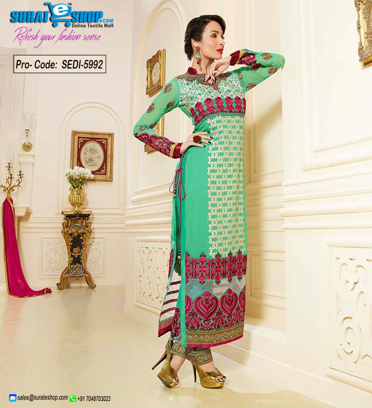 Authentic Elegance Comes Out As A Results Of The Dressing Style With This Mint Green Faux Georgette Salwar Kameez. The Butta Work, Lace, Patch Work, Resham Work Looks Chic And Excellent For Any Function. Paired With A Matching Bottom Comes With A Contrast Magenta Chiffon Dupatta  Visit: http://surateshop.com/product-details.php?cid=2_27_63&pid=8301&mid=0